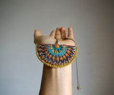 CIJ Sale // Wool Felt Statement Necklace // Hand Embroidered // LoftFullOfGoodies