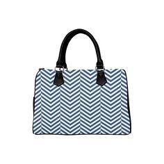 dark blue and white classic chevron pattern Boston Handbag (Model Dark Blue, Blue And White, Great Gifts For Mom, Bag Making, Chevron, Boston, Shoulder Bags, Tote Bag, Elegant