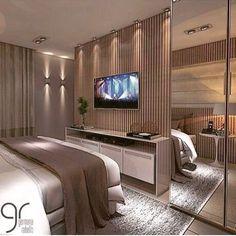 Boa noite com esse projeto maravilhoso para essa sexta a noite! Hotel Room Design, Luxury Bedroom Design, Master Bedroom Design, Bedroom Sets, Home Bedroom, Room Decor Bedroom, Appartement Design Studio, Dressing Room Design, Suites