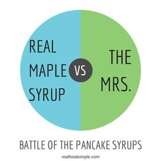 real maple syrup vs. the Mrs. There is a battle that goes on over waffles and pancakes. Which side do you land on? | realfoodsimple.com