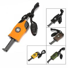 3 in 1 Flint Stone Survival Magnesium Fire Starter+Whistle+Compass