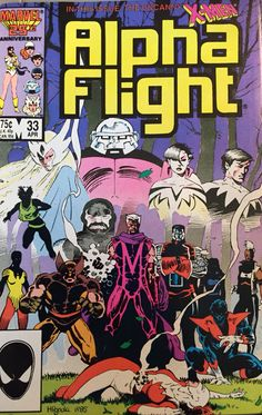 ALPHA FLIGHT Vol1#33 A FRIEND IN NEED Heather & James Hudson Vindicator Puck Judd Northstar Aurora Box Roger Bochs Madison Jeffries Snowbird Marrina Attuma Sub-Mariner UNCANNY X-MEN Storm Wolverine Colossus Rachel Summers Kitty Pryde Nightcrawler Rogue Magneto Lady DeathStrike Upstate New York Xavier Mansion Tamarind Island British Columbia Canada