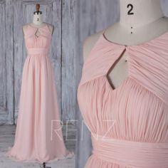 2017 Peach Chiffon Bridesmaid Dress, Hole Neck Wedding Dress, Ruched Bodice Prom Dress, A Line Evening Gown, Long Maxi Dress Full (L266)