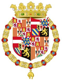 Coat of Arms of Charles I of Spain-Flanders and Tyrol Escutcheon Variant(1518-1520) - List of coats of arms of Spain - Wikipedia