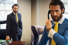 Actor Craig McGinlay office style. He is wearing full bespoke tailor made pinstripe suit.