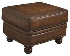 Montbrook Traditional Brown Wood Leather Ottoman