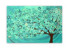 Teal, Turquoise, & Green Abstract Tree Painting - Original abstract/whimsical tree painting. This tree painting is painted on canvas.  What is it? Original abstract/whimsical tree painting on canvas Medium: Acrylic on gallery-wrapped (staples out of sight at the back), stretched, cotton canvas...