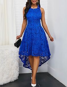 Color : Royal Blue Style : Elegant Pattern Type : Solid Neckline : Round neck The post Sleeveless Royal Blue Round Neck High Low Lace Dress appeared first on Power Day Sale. Black Party Dresses, Trendy Dresses, Sexy Dresses, Prom Dresses, Dress Party, Royal Blue Dresses, Woman Dresses, Sleeve Dresses, Midi Dresses
