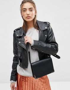 ASOS | ASOS Leather Shoulder Bag With Metal Corners