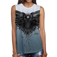 Game Of Thrones Crow Swords Show Logo Licensed Women s Muscle Tank Shirt