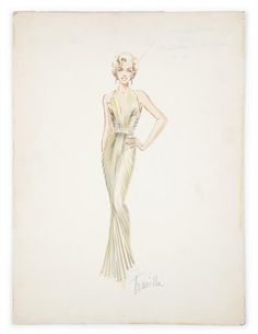 A mixed media on board costume sketch of Marilyn Monroe in a gold pleated dress for the film Gentlemen Prefer Blondes (20th Century, 1953)
