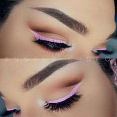 Colorful eyeliner is a great way to ease into using colorful makeup. It is easier to apply and blend more successfully than brightly-colored eyeshadow. Makeup Is Life, Makeup Goals, Makeup Geek, Makeup Inspo, Makeup Inspiration, Makeup Tips, Hair Makeup, Rosa Eyeliner, Makeup Ideas