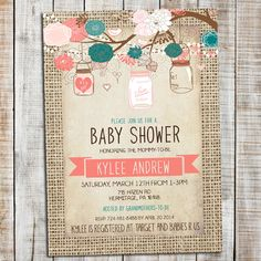 Hey, I found this really awesome Etsy listing at https://www.etsy.com/listing/211711727/burlap-baby-shower-girl-invitation-mason