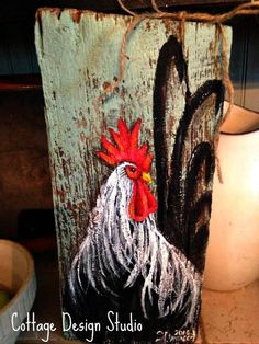 Rustic rooster painting rooster wall decor by CottageDesignStudioRustic rooster painting on Barn Ideas The Reasons Why We Should Put Rooster Decor In The Kitchen, Based on the breed, either the whole period of the crowing or the times the roo Rooster Painting, Rooster Art, Rooster Decor, Tole Painting, Chicken Painting, Chicken Art, Roast Chicken, Chicken Signs, Pallet Painting