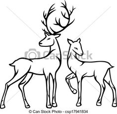 Vector - Couple deer - stock illustration, royalty free illustrations, stock clip art icon, stock clipart icons, logo, line art, EPS picture, pictures, graphic, graphics, drawing, drawings, vector image, artwork, EPS vector art