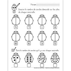 Compter avec la coccinelle Bug Activities, 1st Grade Math Worksheets, Reading Fluency, Eric Carle, Math For Kids, Numeracy, Teacher Hacks, Kids Learning, Ladybug
