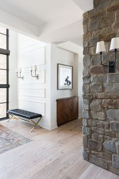 Nyla Free Designs reveals the entrance of their Country House project in rural Alberta. As seen in Canadian House and Home. Front Hallway, Front Entry, Cabana, White Brick Tiles, Canadian House, Built In Desk, Floor To Ceiling Windows, Interior Design Studio, Country Interior Design