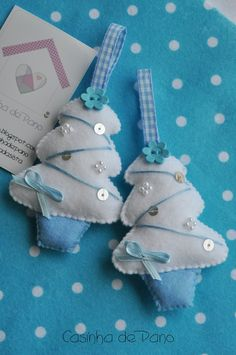 Sweet look—embellished blue/white felt Christmas tree ornaments.