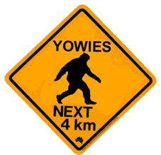 When you walk in the thickly-forested areas of South Eastern Australia, keep an eye out for Yowies.    You can't mistake him if you see him, a Yowie...