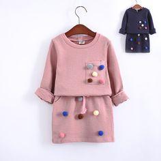 Девушки зимняя одежда набор с длинным рукавом с мячом с юбка карандаш розовый и голубой цвет модной одежды набор детей дети купить на AliExpress