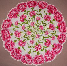 Pink carnations round hankie