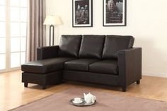 FREE Basic Delivery in Canada! Newport Espresso Small Condo Apartment Sized Sectional Sofa with Reversible Chaise . Order the best cheap Eco Leather couch online for your living room. Shop Furniture Online, Wholesale Furniture, Small Sectional Sofa, Sofa Set, Small Condo, Condo Furniture, Sofa Frame, Leather Furniture, Leather Sofas