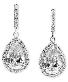 B. Brilliant Sterling Silver Earrings, Cubic Zirconia Pave Teardrop Earrings (2-9/10 ct. t.w.)