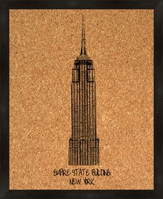 Empire State Building Framed Wall Mounted Bulletin Board, 2' x 2'