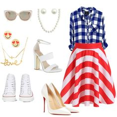 It's a fashionable 4th!!! by la-harrell-styling-co on Polyvore featuring polyvore fashion style Christian Louboutin Carvela Converse Dogeared Bling Jewelry Kate Spade Minnie Grace Jimmy Choo