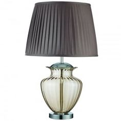 Urn Single Light Table Lamp With Amber Glass Base And Brown Pleated Shade