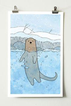 River Otter Nursery Art Print - studio tuesday