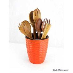 Enrico Mango Wood Honeycomb Set/5 - Tangerine – Modish Store