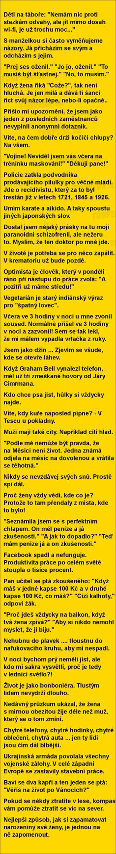 vtipné obrázky, vtipy a videa Good Jokes, Funny Jokes, Try Not To Laugh, Jokes Quotes, Funny Photos, Picture Quotes, The Funny, Quotations, Haha