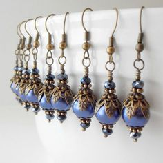 Pearl Bridesmaid Earrings Navy Blue Wedding Jewelry Vintage Style Antiqued Bronze Beaded Dangles Handmade Bridesmaid Gift