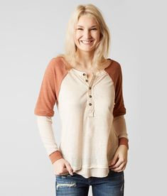 Gilded Intent Thermal Henley Top - Cream X-Small, Women's Creamrusset Style 525867 Pieced raw edge henley High low hem Body length 26 on size medium Model Info: Height: The Buckle Store, Thermal Henley, Henley Top, Summer Shirts, Nice Tops, T Shirts For Women, How To Wear, Clothes, Thumbnail Image