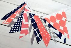 Bunting Banner, Photography Prop, Fabric Flags, Nautical Girl Nursery Decor - Coral Pink, Grey, Gray, Navy Blue, Chevron, Dots
