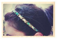 diy: frayed & chain headband
