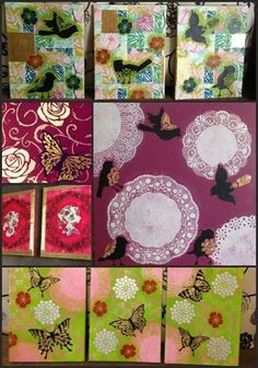 One of our foreign customers (Sugar Plus) shared these creative mixed media canvases she incorporates our stencils into.
