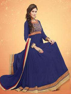 Beautiful Blue Georgette Readymade Salwar Suit