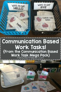 We're sharing our favorite communication & language based work tasks from our Mega Pack on the blog! From the autismhelper.com #theautismhelper