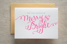 Merry and Bright Letterpress Card. $4.00, via Etsy.