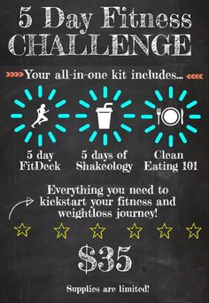 Have you been wanting to kickstart your fitness and health for summer 2015, but have lacked motivation?? I'm holding a 5 day kickstart challenge coming up on June 15th. Check out what you get: -5 samples of shakeology -5 days of workouts (Fit Deck) -5 days of complete support and accountability in a private Facebook group -5 days of support from your coach (that's me!) -a meal plan to use to plan out your week -information on clean eating and what it's all about! -motivation and guidance…