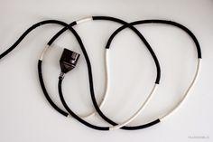 Recouvrir cable électrique avec laine sur scotch double face RAJU Design blog: DIY Fabric Cord