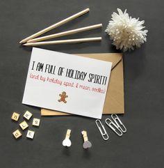 Funny Christmas Card/Drunk Christmas/Vodka Christmas Cards/Crazy Sarcastic Christmas Card/Cute Christmas Gift Ideas