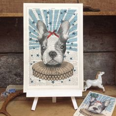 'Circus French Bull Dog' Antique Book Page Art Print by Roo Abrook on Not On The Highstreet £12 + £1.75 P&P