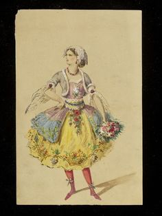 1860s.  Possibly created by Jules Marre for Charles Frederick Worth. A colourful costume in a vaguely rococo style, elaborately trimmed with flowers and baskets of fruit. Although fancy dress costumes could be quite short, the extremely short petticoat of the dress and the brilliant colours suggest that this may originally have been designed as a costume for a ballet dancer rather than a fancy dress costume.