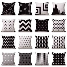 Black White Sofa Pillow Case Cotton Linen Fashion Throw Cushion Cover Home Decor | eBay