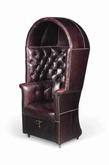 A GEORGE III HALL PORTERS CHAIR LATE 18TH/EARLY 19TH CENTURY The bowed body with domed hood above a buttoned-back and scrolling arms, the base with fall-front compartment, covered in later close-nailed Burgundy leather