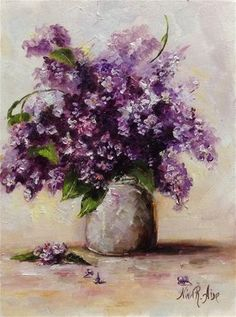 """Daily Paintworks - """"Lilacs. Oil on canvas board 8x6"""" - Original Fine Art for Sale - © Nina R. Aide"""