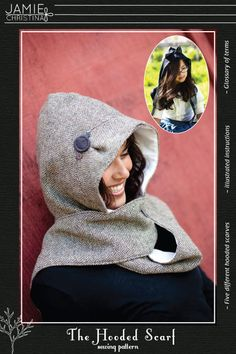 The Hooded Scarf sewing pattern  adult and child by prettyditty